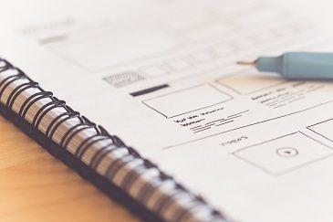 Notepad of website plans